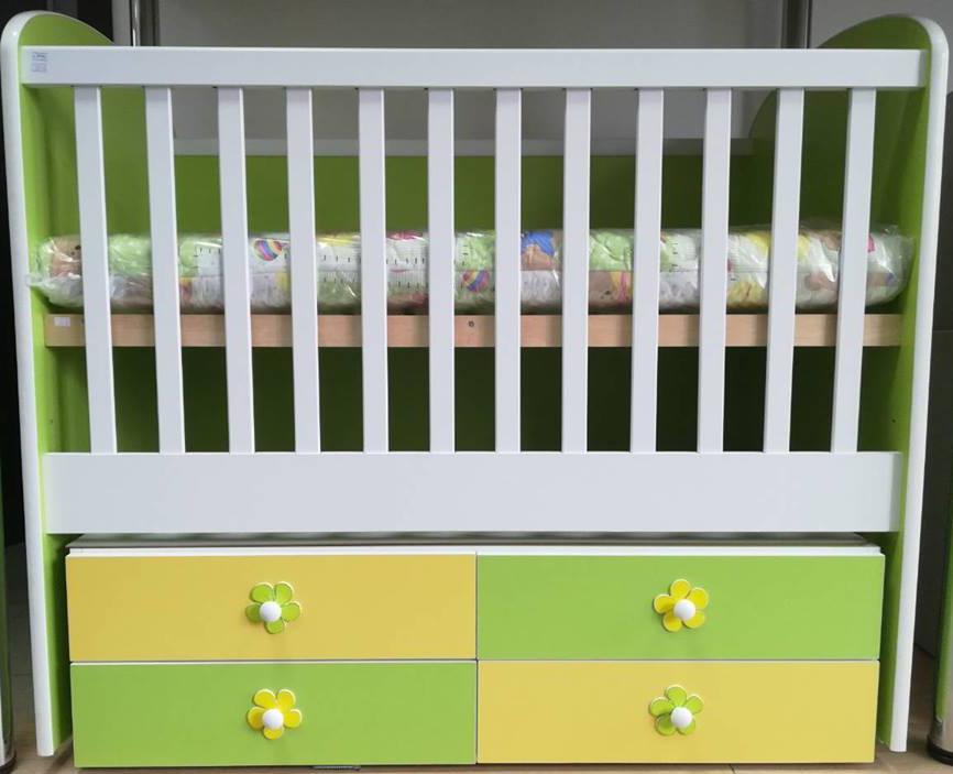 Легло ав мебели диана люлка 120/60 зелено  жълто
