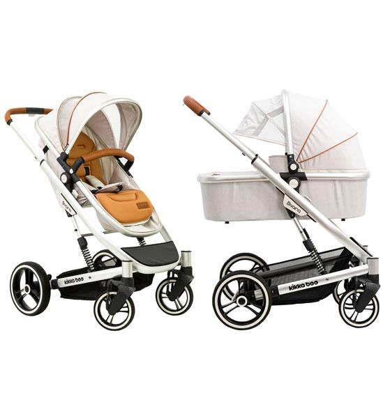 Комбинирана бебешка количка 2 в 1 с кош за новородено divaina grey melange