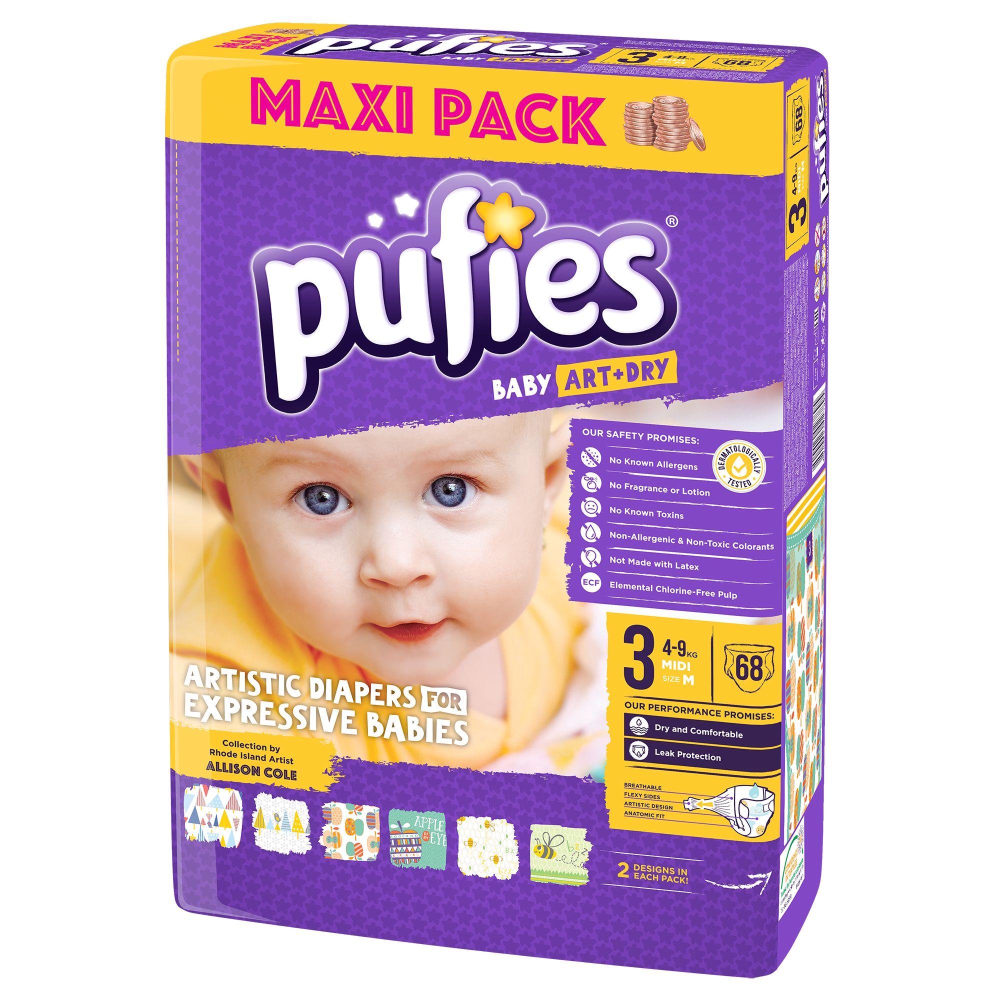 Пелени пуфис pufies art and dry 3 4-9 кг maxi pack